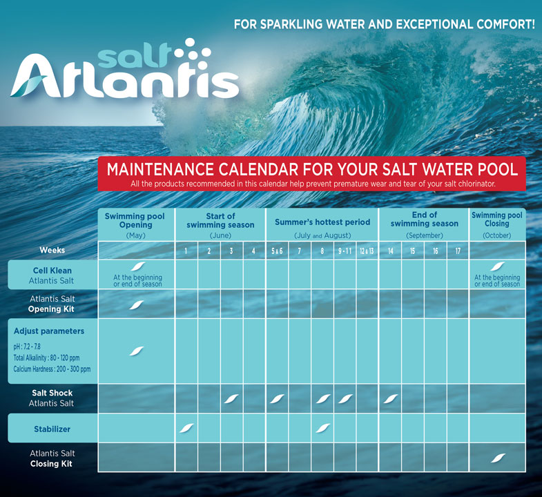 Maintenance calendar salt swimming pool
